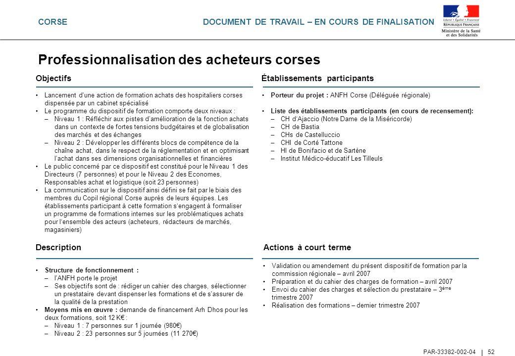 DOCUMENT DE TRAVAIL – EN COURS DE FINALISATION PAR-33382-002-04 52 Objectifs Lancement d'une action de formation achats des hospitaliers corses dispen