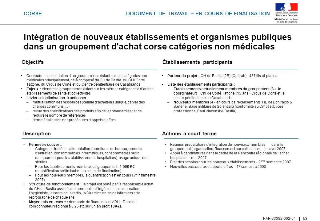 DOCUMENT DE TRAVAIL – EN COURS DE FINALISATION PAR-33382-002-04 53 Intégration de nouveaux établissements et organismes publiques dans un groupement d