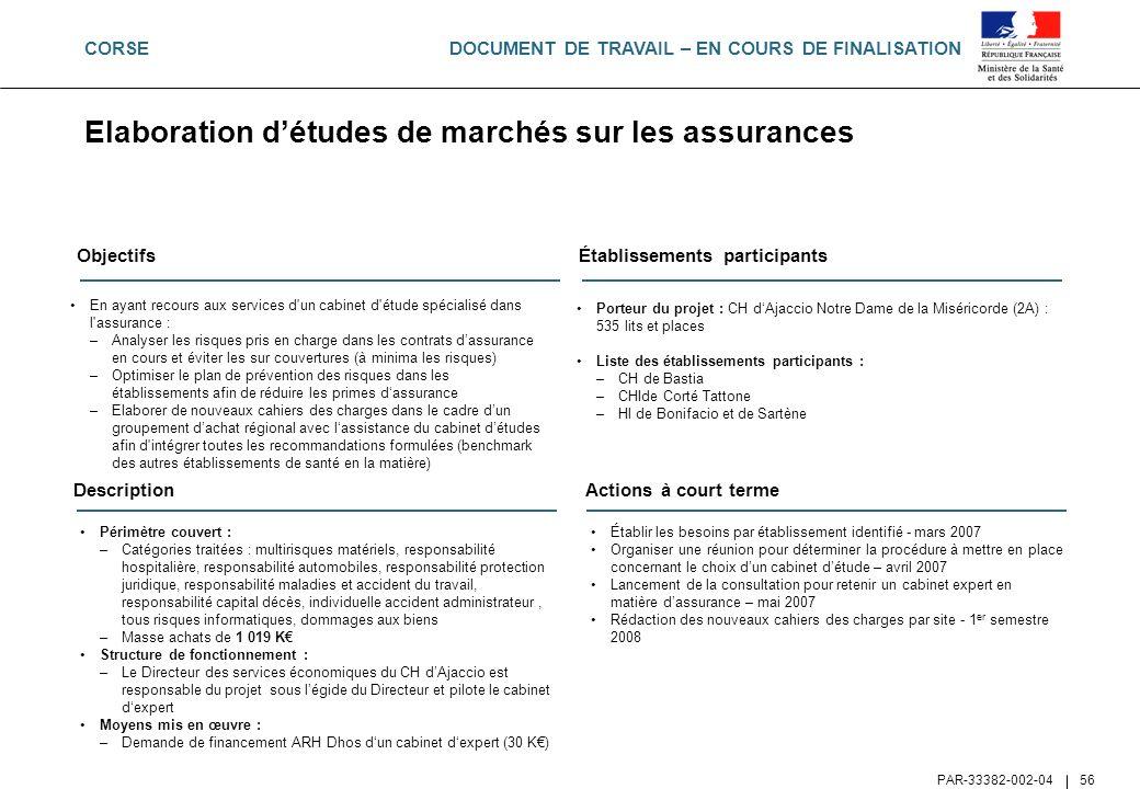 DOCUMENT DE TRAVAIL – EN COURS DE FINALISATION PAR-33382-002-04 56 Elaboration détudes de marchés sur les assurances Objectifs En ayant recours aux se