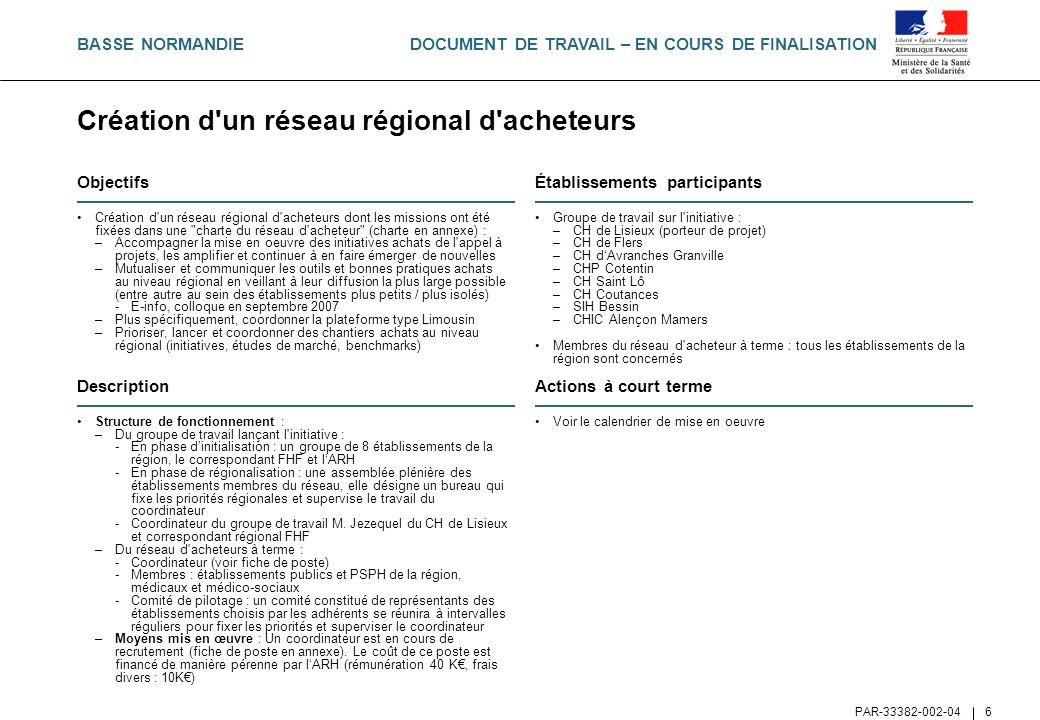DOCUMENT DE TRAVAIL – EN COURS DE FINALISATION PAR-33382-002-04 57 Objectifs Déploiement d une plateforme collaborative interrégionale (PACA-Corse) à partir de l architecture technique de la plateforme du Limousin Cet outil doit permettre, au niveau interrégionale, de faciliter la mission des acheteurs en favorisant les échanges notamment autour des contenus suivants : –Mise en ligne et lien avec plateforme de dématérialisation (e- procurement) –Mise à disposition de cahiers des charges –Recensement et évaluation de lensemble des fournisseurs répondant au niveau interrégional –Bonnes pratiques achat (formation régionale) –Benchmark –Suivi des initiatives développées dans le cadre du Copil achat –Cartographie des groupements de commandes existants –Mise en place dun forum régulé par des personnes ressources identifiées (référents thématiques) par le coordonnateur des réseaux professionnels régionaux Établissements participants Porteur de projet : Centre Hospitalier de Martigues (Les Rayettes) (13) : 558 lits et places Copil : –CH de Digne, dAntibes Juan les Pins, de Cannes (Pierre Nouveau), de Salon de provence, dArles (Joseph Imbert) et de Draguignan (La Dracénie) –Fondation Hôpital Saint Joseph et Ambroise Paré –Chicas et CHi de Fréjus St Raphaël –CHs de Montfavet et dAix en provence (Montperrin) –IPC et Ch dAvignon (Henri Duffaut) –Ch de Bastia et dAjaccio (Notre Dame de la Miséricorde) A terme lensemble des établissements des régions Paca & Corse collaborent autour du contenu de la plateforme (consultation et alimentation) Description Structure de fonctionnement : –Le Copil pilote la plateforme jusquau recrutement du coordonnateur –Le coordonnateur du réseau dacteurs de la région PACA consacrera la moitié de son temps à la mise en place et à lanimation de la plateforme (pilotage, communication des priorités, validation des éléments mis en ligne directement par les établissements).