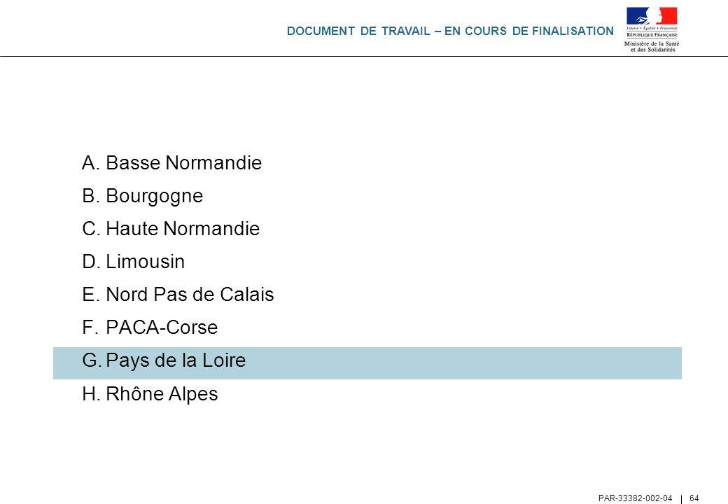 DOCUMENT DE TRAVAIL – EN COURS DE FINALISATION PAR-33382-002-04 64 A.Basse Normandie B.Bourgogne C.Haute Normandie D.Limousin E.Nord Pas de Calais F.P