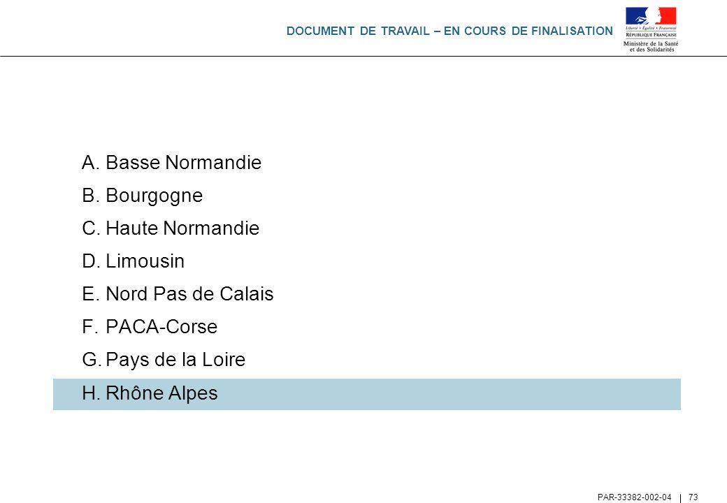 DOCUMENT DE TRAVAIL – EN COURS DE FINALISATION PAR-33382-002-04 73 A.Basse Normandie B.Bourgogne C.Haute Normandie D.Limousin E.Nord Pas de Calais F.P