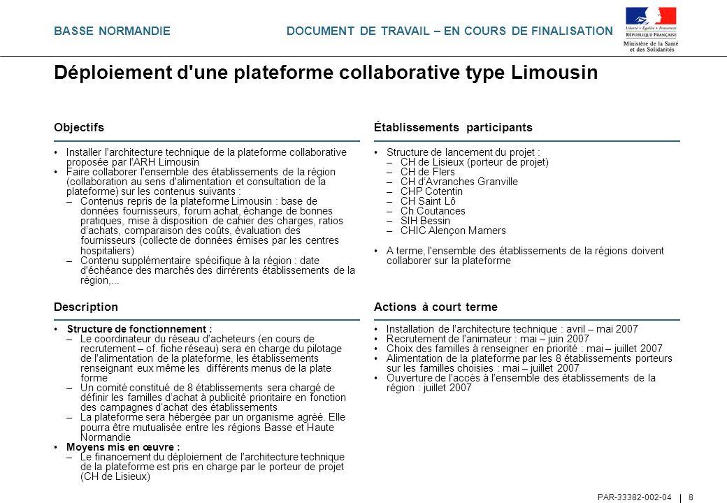 DOCUMENT DE TRAVAIL – EN COURS DE FINALISATION PAR-33382-002-04 8 Déploiement d'une plateforme collaborative type Limousin Objectifs Installer l'archi