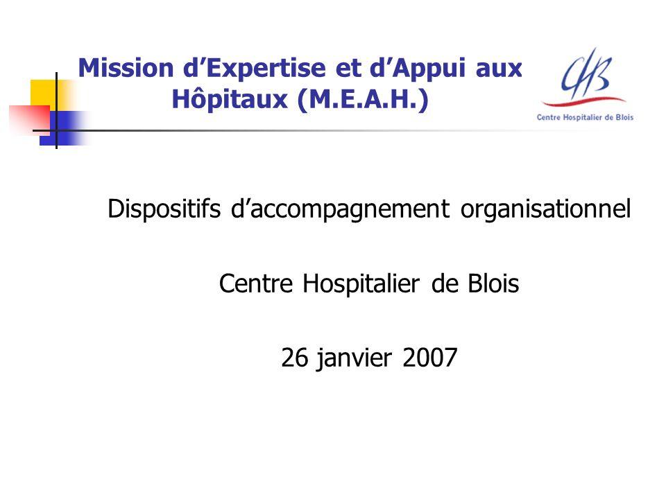 Mission dExpertise et dAppui aux Hôpitaux (M.E.A.H.) Dispositifs daccompagnement organisationnel Centre Hospitalier de Blois 26 janvier 2007