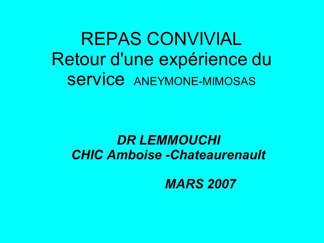 REPAS CONVIVIAL Retour d une expérience du service ANEYMONE-MIMOSAS DR LEMMOUCHI CHIC Amboise -Chateaurenault MARS 2007