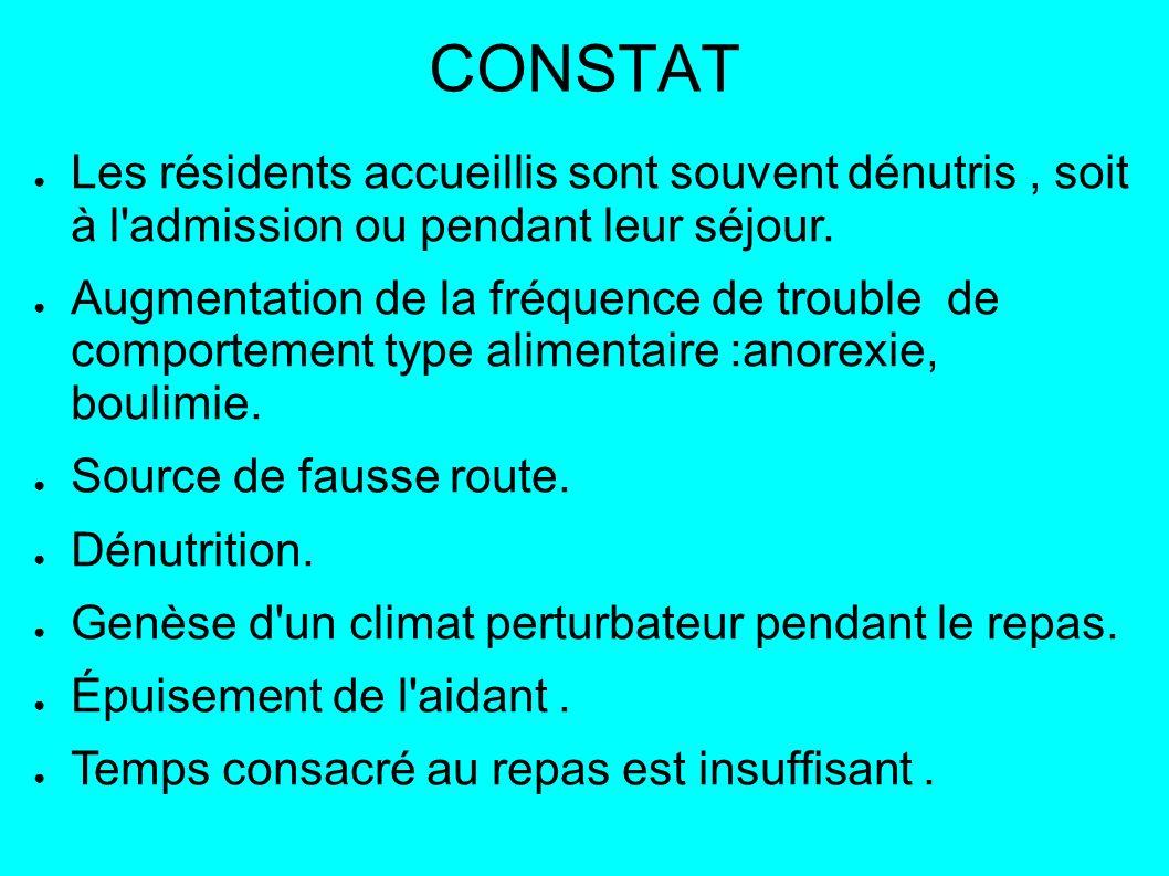 CONSTAT Les résidents accueillis sont souvent dénutris, soit à l admission ou pendant leur séjour.