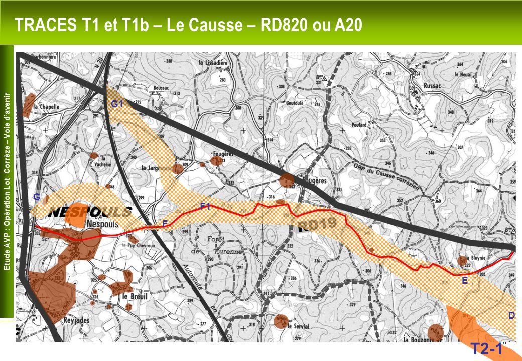 Etude AVP : Opération Lot Corrèze – Voie davenir 6 TRACES T1 et T1b – Le Causse – RD820 ou A20 F1 G1 D E F G T2-1