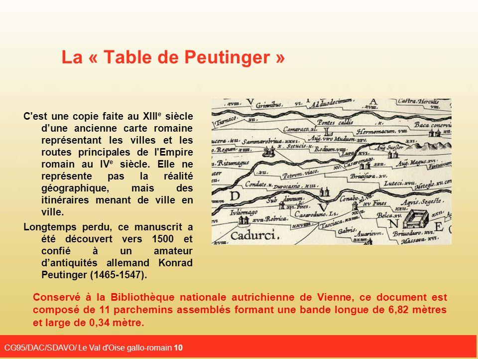 CG95/DAC/SDAVO/ Le Val d'Oise gallo-romain 10 La « Table de Peutinger » C'est une copie faite au XIII e siècle dune ancienne carte romaine représentan