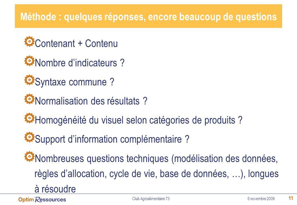 11 Méthode : quelques réponses, encore beaucoup de questions Contenant + Contenu Nombre dindicateurs ? Syntaxe commune ? Normalisation des résultats ?