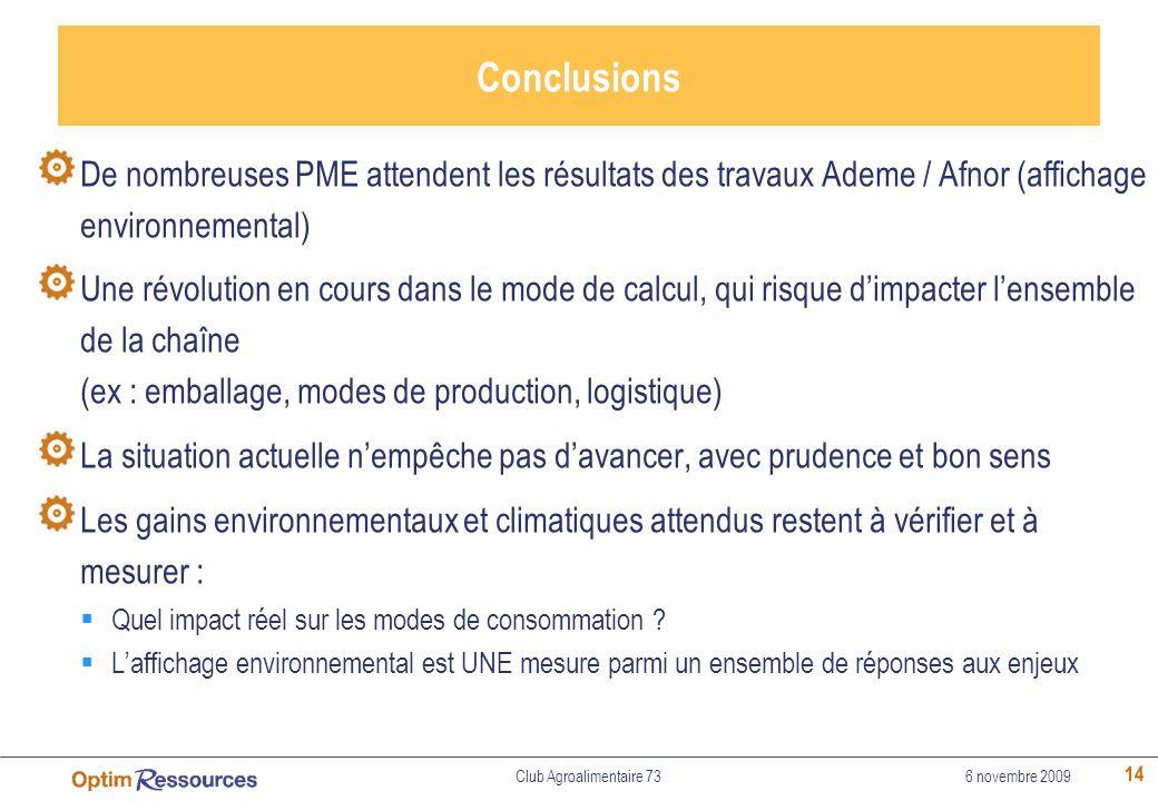 14 Conclusions De nombreuses PME attendent les résultats des travaux Ademe / Afnor (affichage environnemental) Une révolution en cours dans le mode de