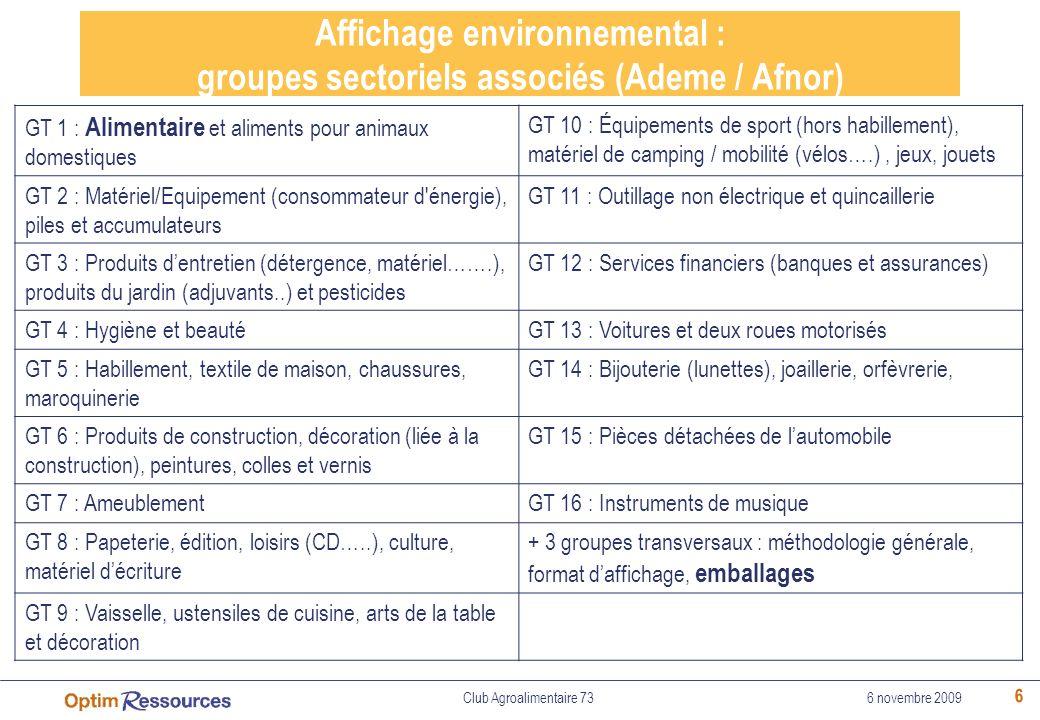 6 Affichage environnemental : groupes sectoriels associés (Ademe / Afnor) GT 1 : Alimentaire et aliments pour animaux domestiques GT 10 : Équipements
