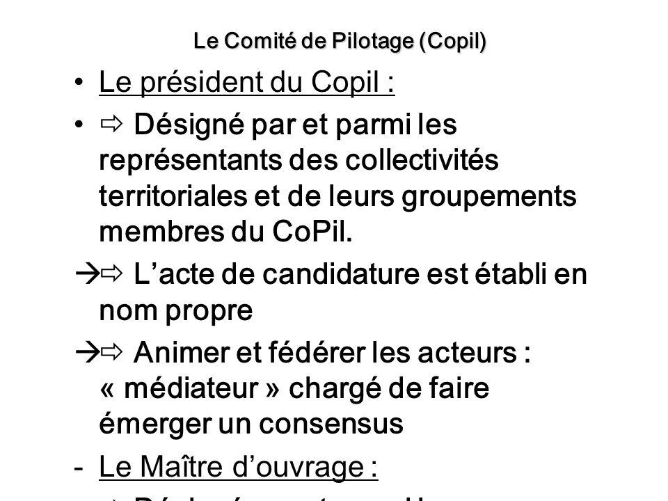 Le président du Copil : Désigné par et parmi les représentants des collectivités territoriales et de leurs groupements membres du CoPil. Lacte de cand