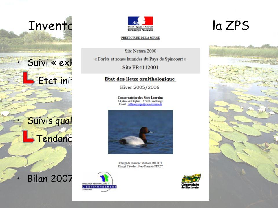 Inventaires ornithologiques sur la ZPS Suivi « exhaustif » en 2005/2006 Etat initial Suivis qualitatifs de 2007 à 2010 Tendances dévolution Bilan 2007