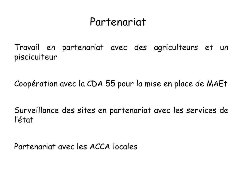 Partenariat Travail en partenariat avec des agriculteurs et un pisciculteur Coopération avec la CDA 55 pour la mise en place de MAEt Surveillance des sites en partenariat avec les services de létat Partenariat avec les ACCA locales