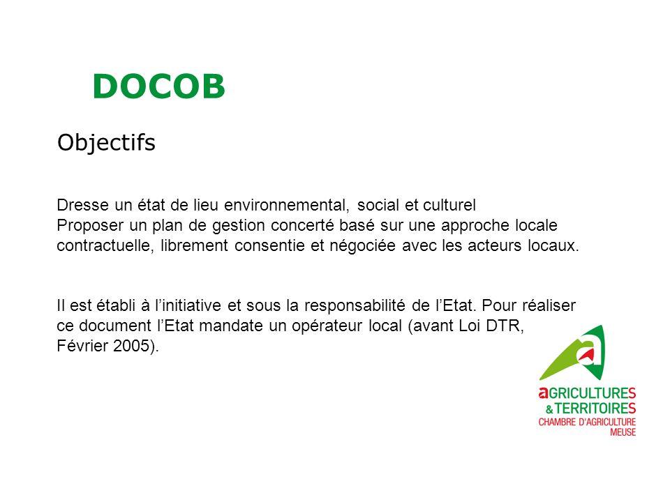 DOCOB Objectifs Dresse un état de lieu environnemental, social et culturel Proposer un plan de gestion concerté basé sur une approche locale contractuelle, librement consentie et négociée avec les acteurs locaux.