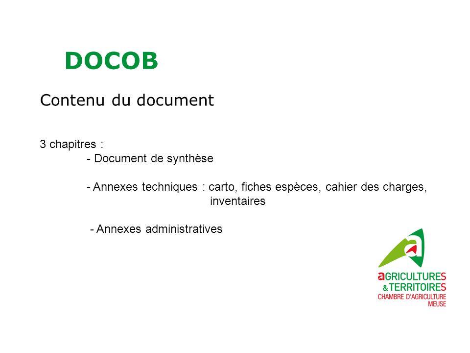 DOCOB Contenu du document 3 chapitres : - Document de synthèse - Annexes techniques : carto, fiches espèces, cahier des charges, inventaires - Annexes