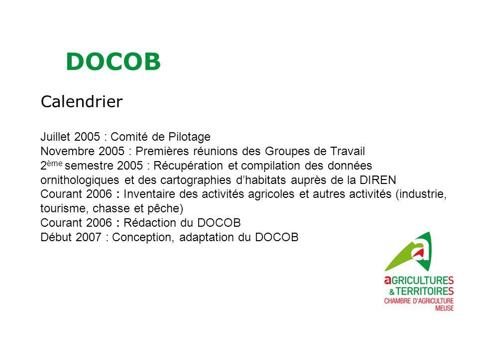 DOCOB Calendrier Juillet 2005 : Comité de Pilotage Novembre 2005 : Premières réunions des Groupes de Travail 2 ème semestre 2005 : Récupération et com