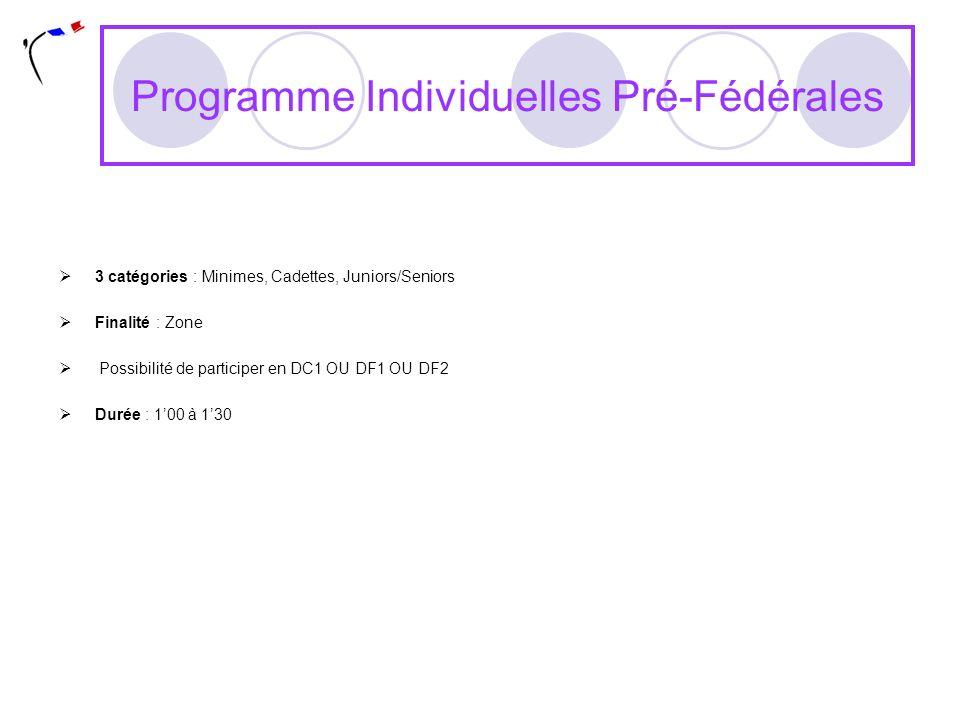 Programme Individuelles Pré-Fédérales 3 catégories : Minimes, Cadettes, Juniors/Seniors Finalité : Zone Possibilité de participer en DC1 OU DF1 OU DF2