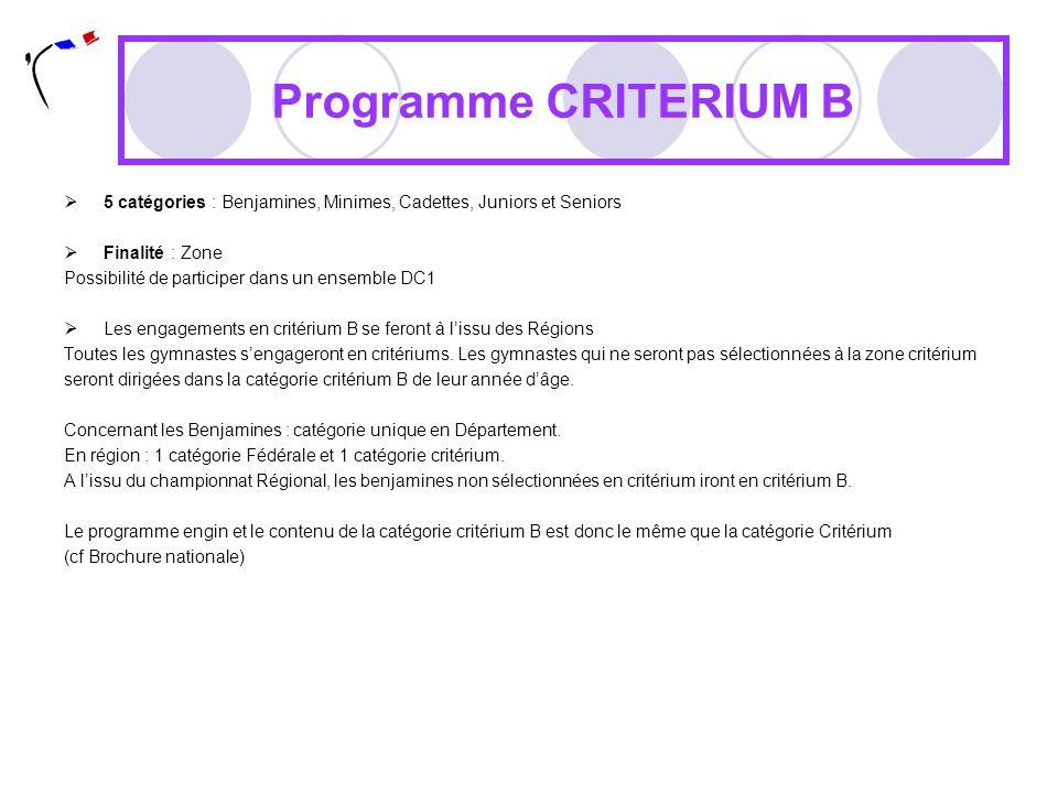 Programme CRITERIUM B 5 catégories : Benjamines, Minimes, Cadettes, Juniors et Seniors Finalité : Zone Possibilité de participer dans un ensemble DC1