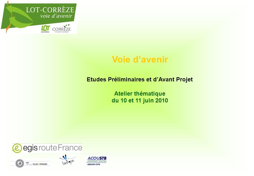 Voie davenir Etudes Préliminaires et dAvant Projet Atelier thématique du 10 et 11 juin 2010