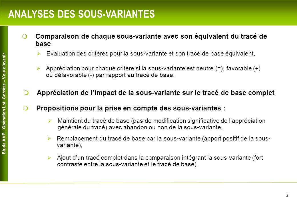 Etude AVP : Opération Lot Corrèze – Voie davenir 2 ANALYSES DES SOUS-VARIANTES Comparaison de chaque sous-variante avec son équivalent du tracé de bas