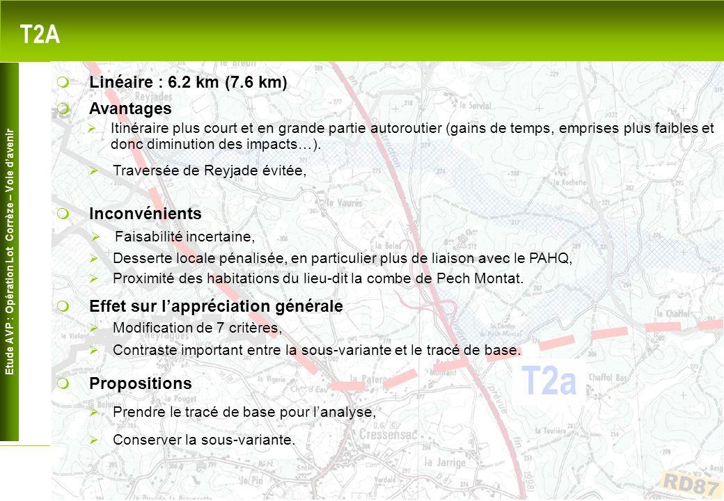 Etude AVP : Opération Lot Corrèze – Voie davenir 5 T2A Avantages Inconvénients Linéaire : 6.2 km (7.6 km) Desserte locale pénalisée, en particulier plus de liaison avec le PAHQ, Proximité des habitations du lieu-dit la combe de Pech Montat.