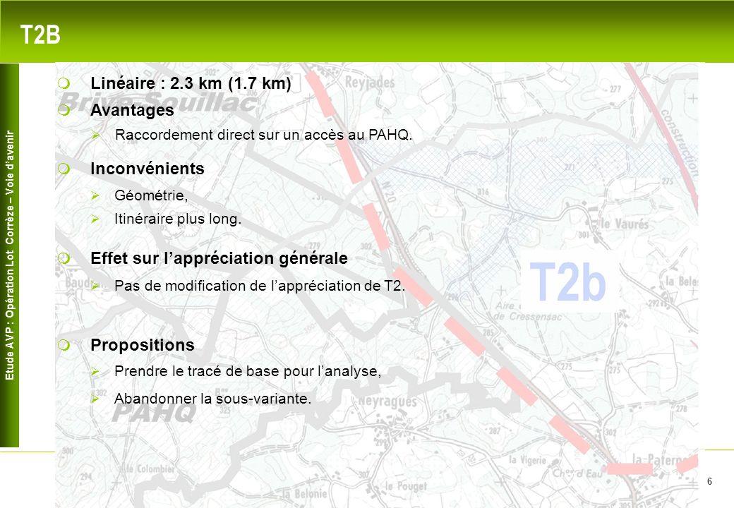 Etude AVP : Opération Lot Corrèze – Voie davenir 6 T2B Avantages Raccordement direct sur un accès au PAHQ. Inconvénients Linéaire : 2.3 km (1.7 km) Gé
