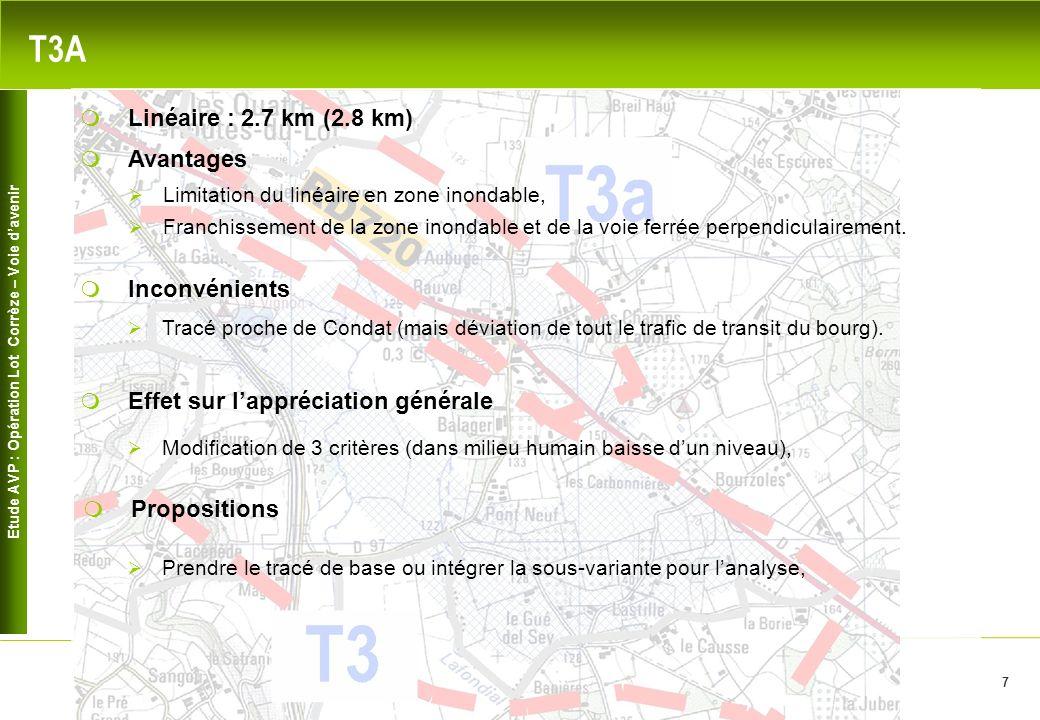 Etude AVP : Opération Lot Corrèze – Voie davenir 7 T3A Avantages Limitation du linéaire en zone inondable, Inconvénients Linéaire : 2.7 km (2.8 km) Tracé proche de Condat (mais déviation de tout le trafic de transit du bourg).