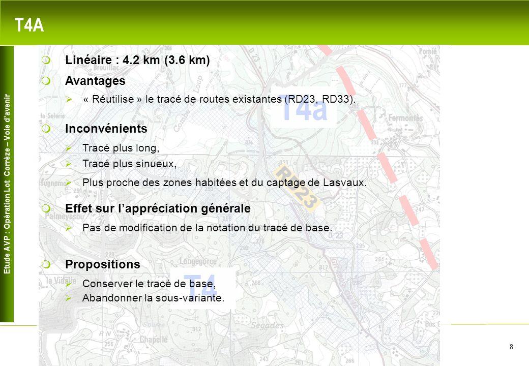Etude AVP : Opération Lot Corrèze – Voie davenir 8 T4A Avantages « Réutilise » le tracé de routes existantes (RD23, RD33). Inconvénients Linéaire : 4.