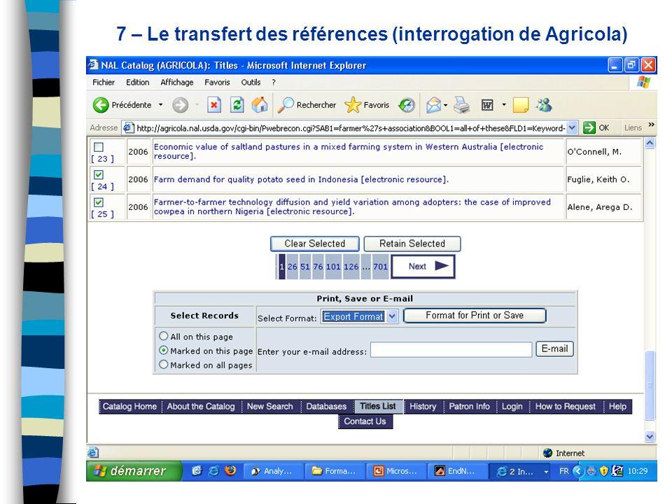 7 – Le transfert des références (interrogation de Agricola)