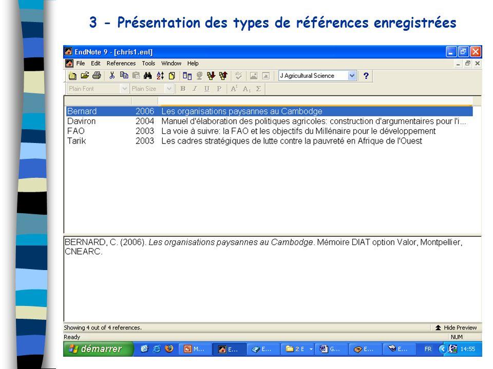 3 - Présentation des types de références enregistrées
