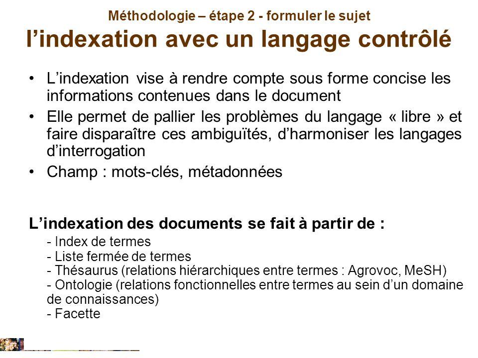 Méthodologie – étape 2 - formuler le sujet lindexation avec un langage contrôlé Lindexation vise à rendre compte sous forme concise les informations c