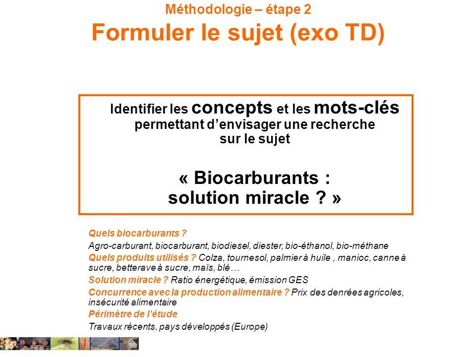 Méthodologie – étape 2 Formuler le sujet (exo TD) Identifier les concepts et les mots-clés permettant denvisager une recherche sur le sujet « Biocarbu