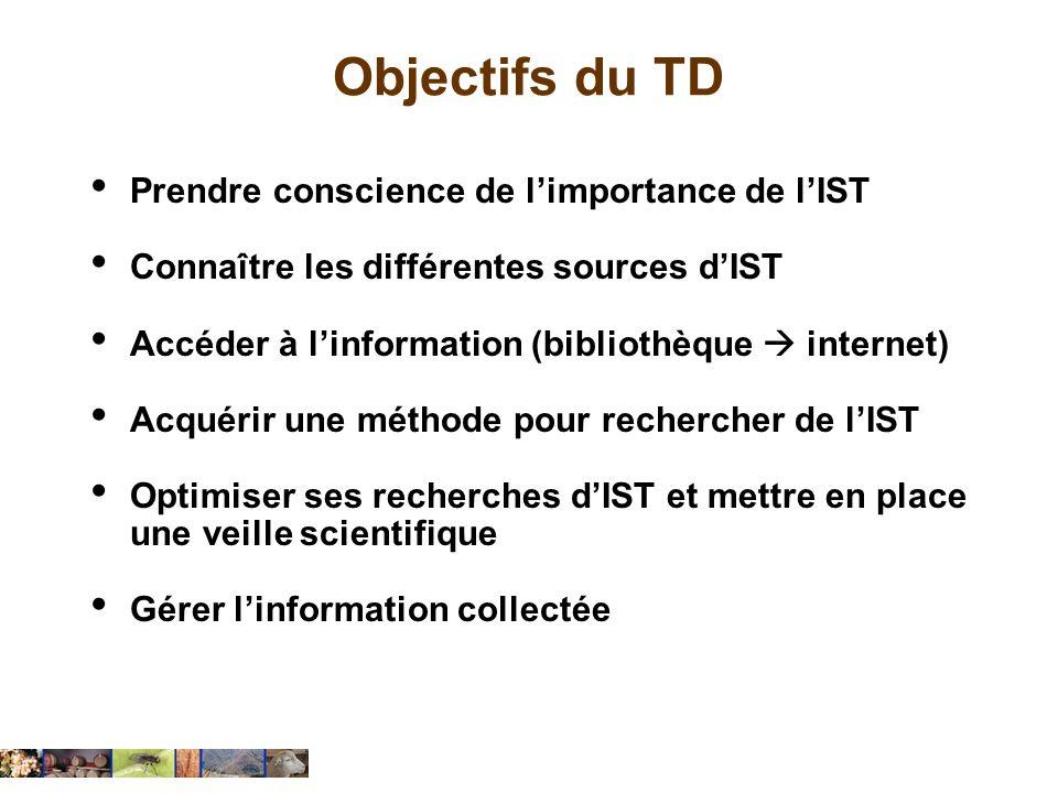Objectifs du TD Prendre conscience de limportance de lIST Connaître les différentes sources dIST Accéder à linformation (bibliothèque internet) Acquér