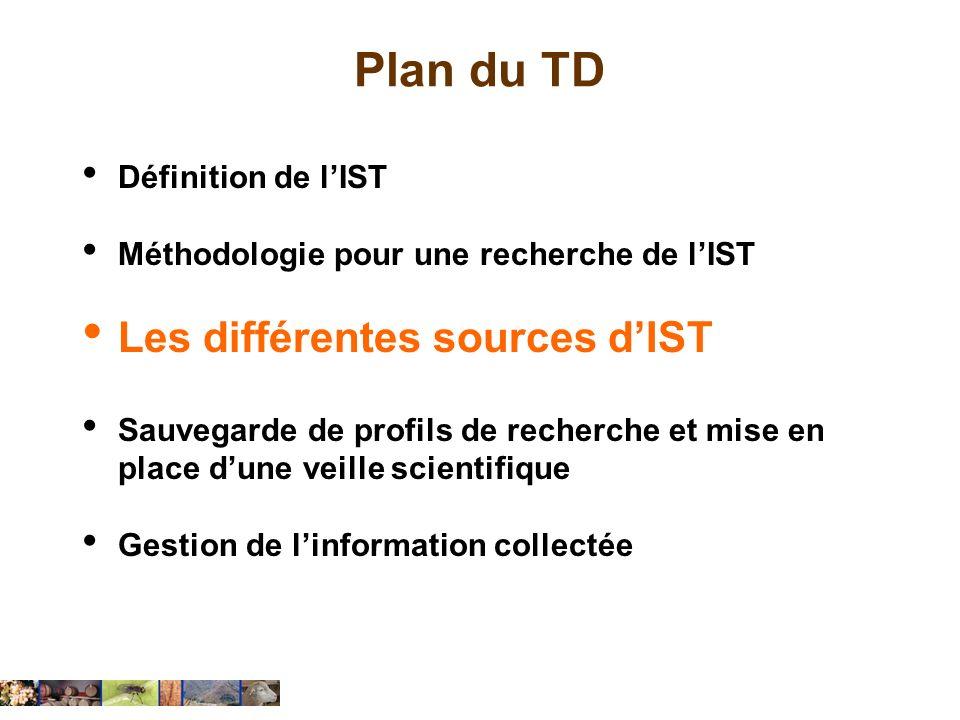 Plan du TD Définition de lIST Méthodologie pour une recherche de lIST Les différentes sources dIST Sauvegarde de profils de recherche et mise en place