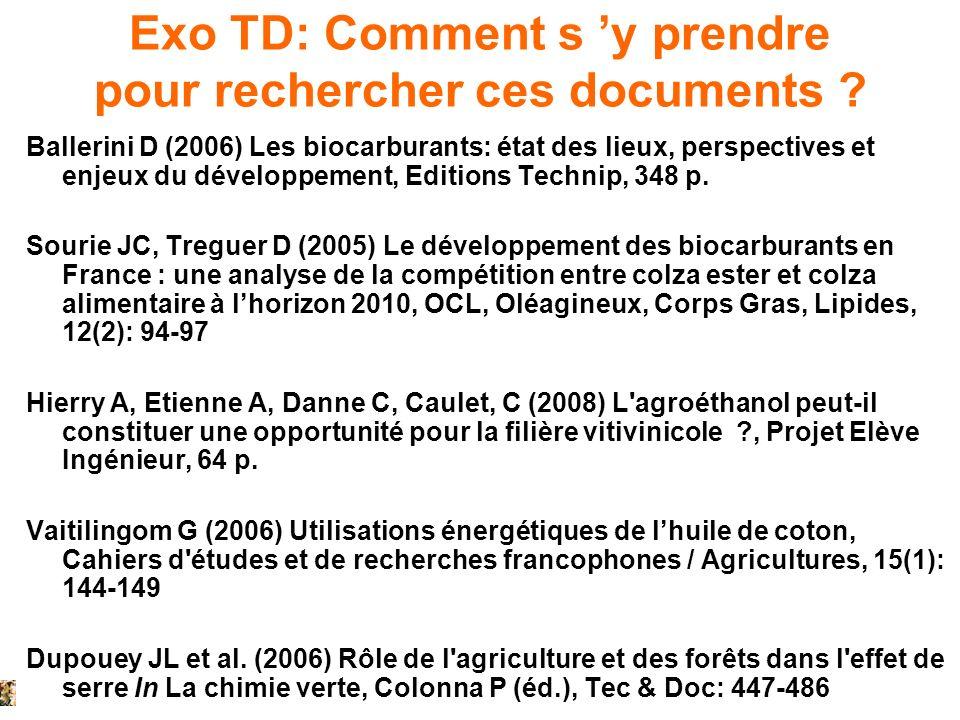 Exo TD: Comment s y prendre pour rechercher ces documents ? Ballerini D (2006) Les biocarburants: état des lieux, perspectives et enjeux du développem