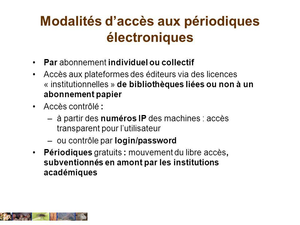 Modalités daccès aux périodiques électroniques Par abonnement individuel ou collectif Accès aux plateformes des éditeurs via des licences « institutio