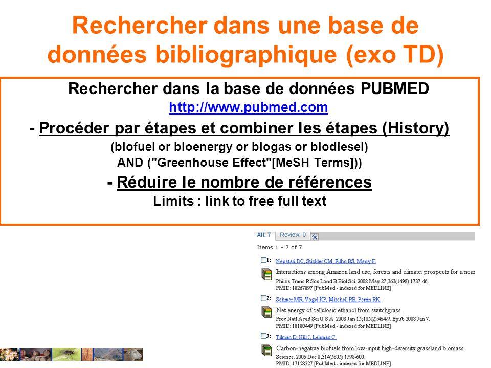 Rechercher dans une base de données bibliographique (exo TD) Rechercher dans la base de données PUBMED http://www.pubmed.com http://www.pubmed.com - P