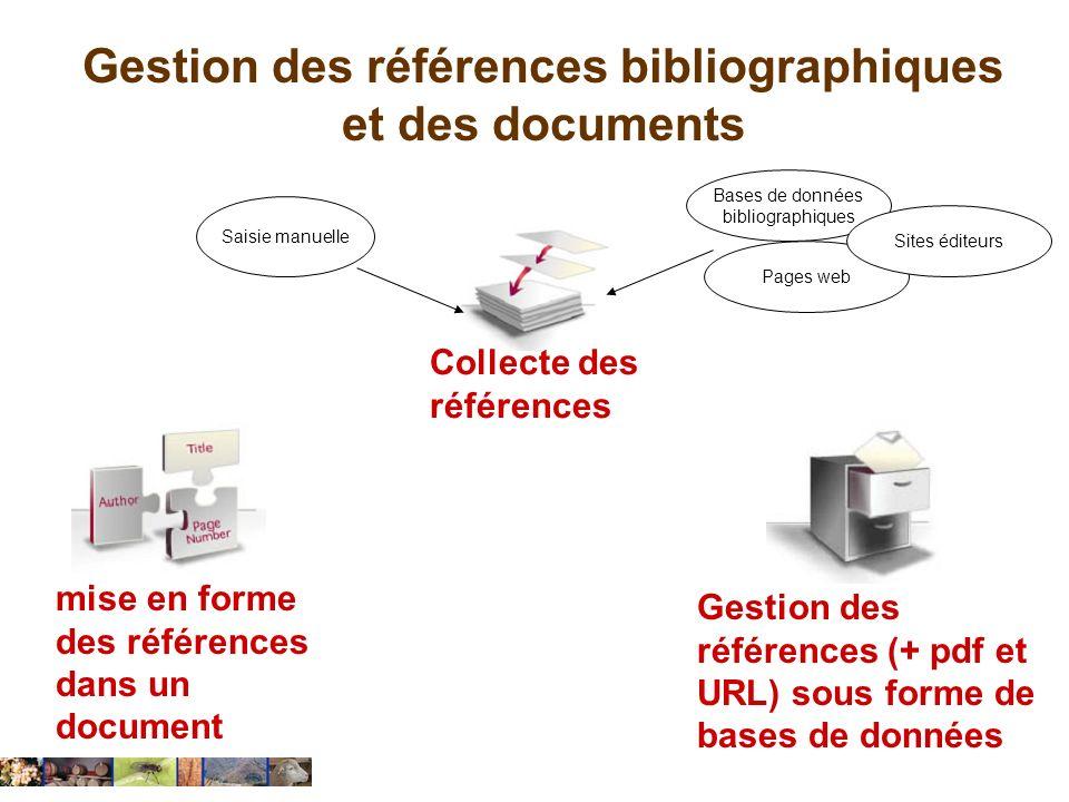 Gestion des références bibliographiques et des documents … Collecte des références Gestion des références (+ pdf et URL) sous forme de bases de donnée