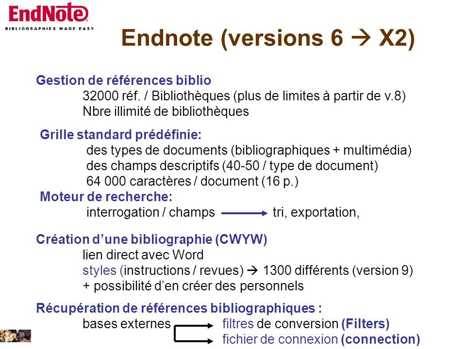 Endnote (versions 6 X2) Gestion de références biblio 32000 réf. / Bibliothèques (plus de limites à partir de v.8) Nbre illimité de bibliothèques Grill