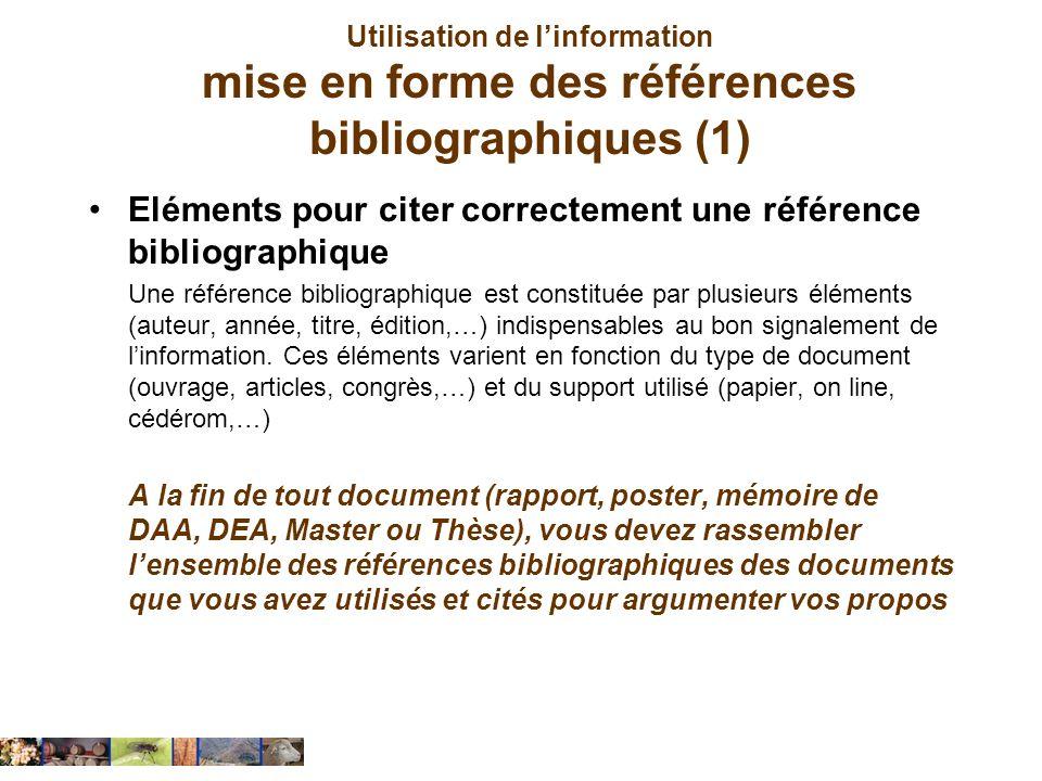 Utilisation de linformation mise en forme des références bibliographiques (1) Eléments pour citer correctement une référence bibliographique Une référ
