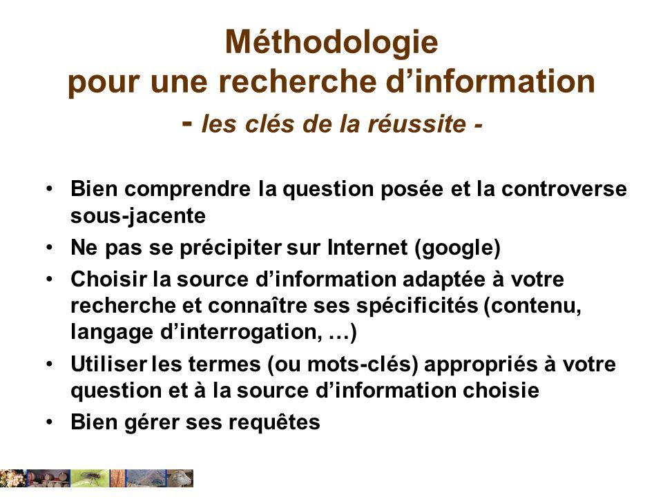 Méthodologie pour une recherche dinformation - les 5 étapes - Identifier le sujet Formuler le sujet Identifier les sources Construire la stratégie de recherche Evaluer les résultats de la recherche