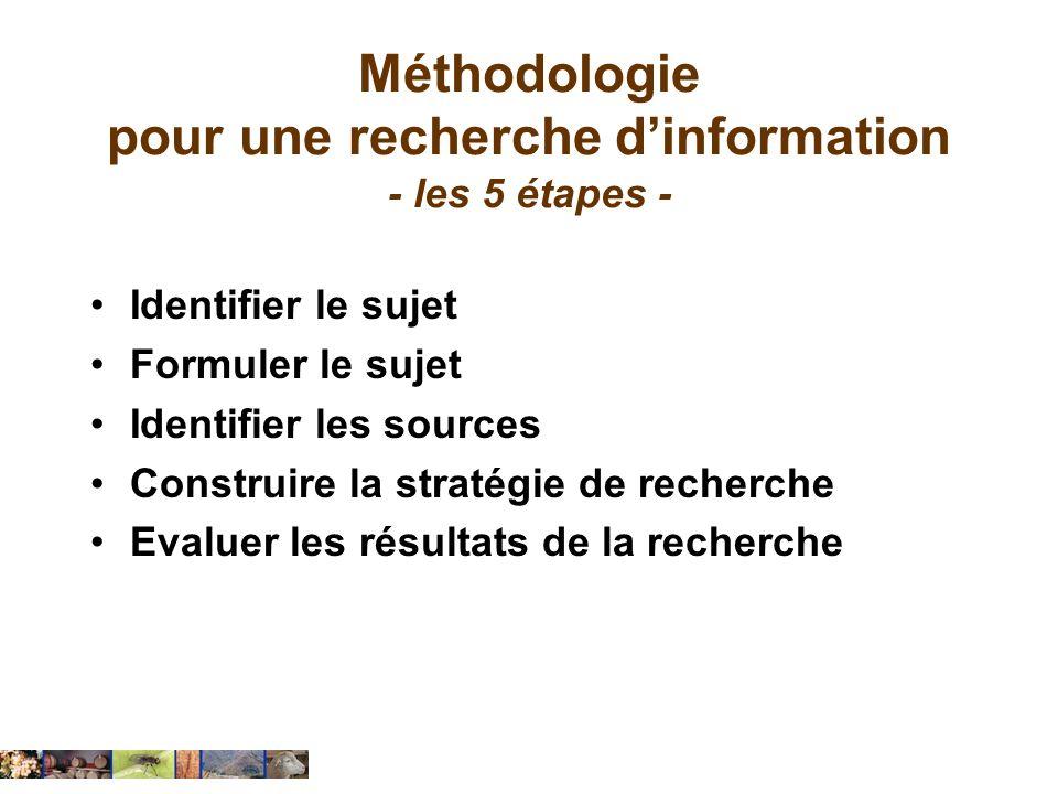 Méthodologie pour une recherche dinformation - les 5 étapes - Identifier le sujet Formuler le sujet Identifier les sources Construire la stratégie de