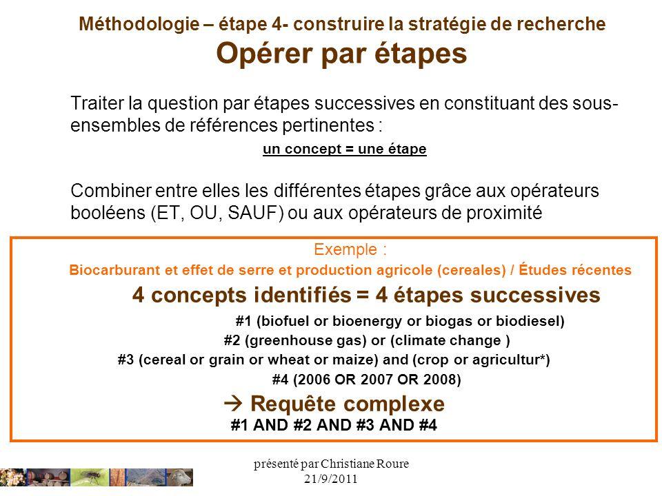 présenté par Christiane Roure 21/9/2011 Méthodologie – étape 4- construire la stratégie de recherche Opérer par étapes Traiter la question par étapes