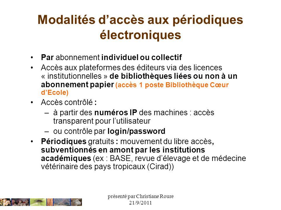 présenté par Christiane Roure 21/9/2011 Modalités daccès aux périodiques électroniques Par abonnement individuel ou collectif Accès aux plateformes de
