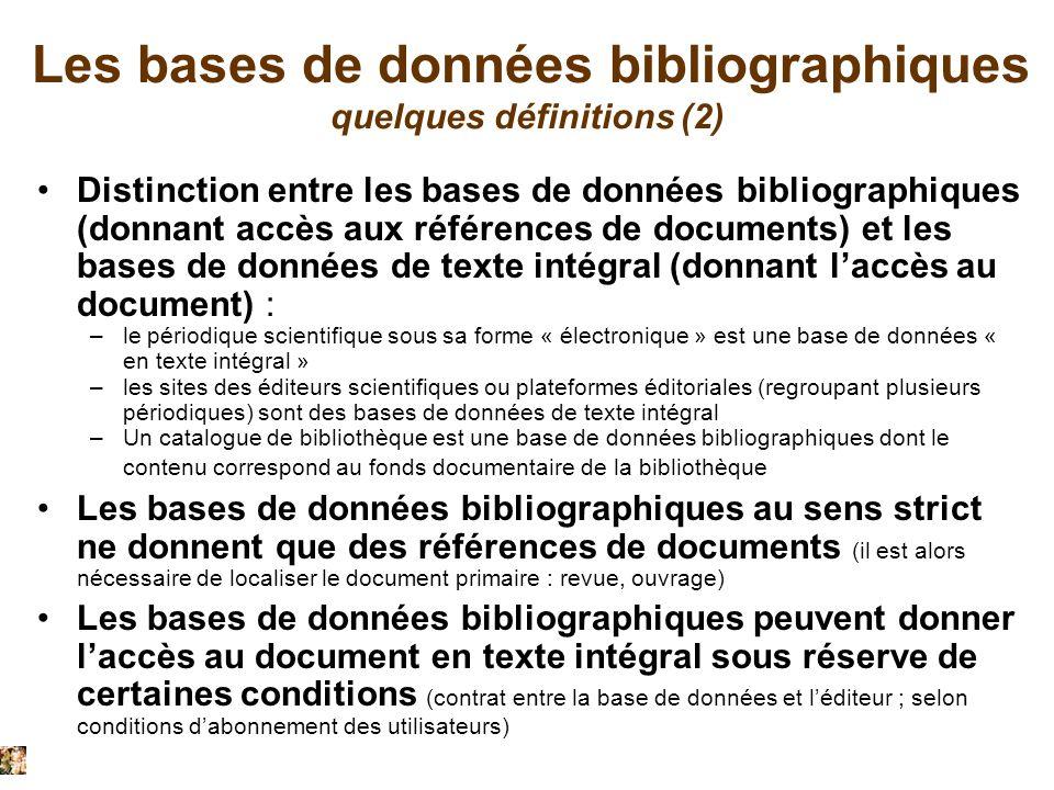 présenté par Christiane Roure 21/9/2011 Les bases de données bibliographiques quelques définitions (2) Distinction entre les bases de données bibliogr