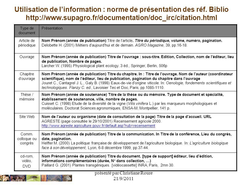 présenté par Christiane Roure 21/9/2011 Utilisation de linformation : norme de présentation des réf. Biblio http://www.supagro.fr/documentation/doc_ir