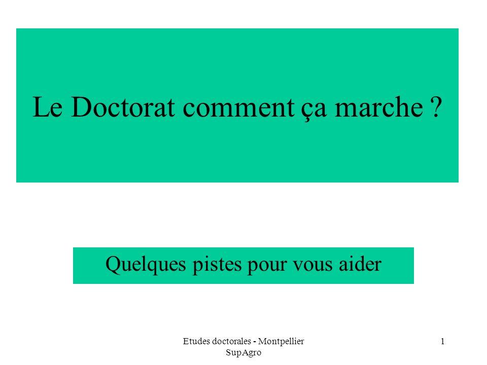 Etudes doctorales - Montpellier SupAgro 1 Le Doctorat comment ça marche ? Quelques pistes pour vous aider