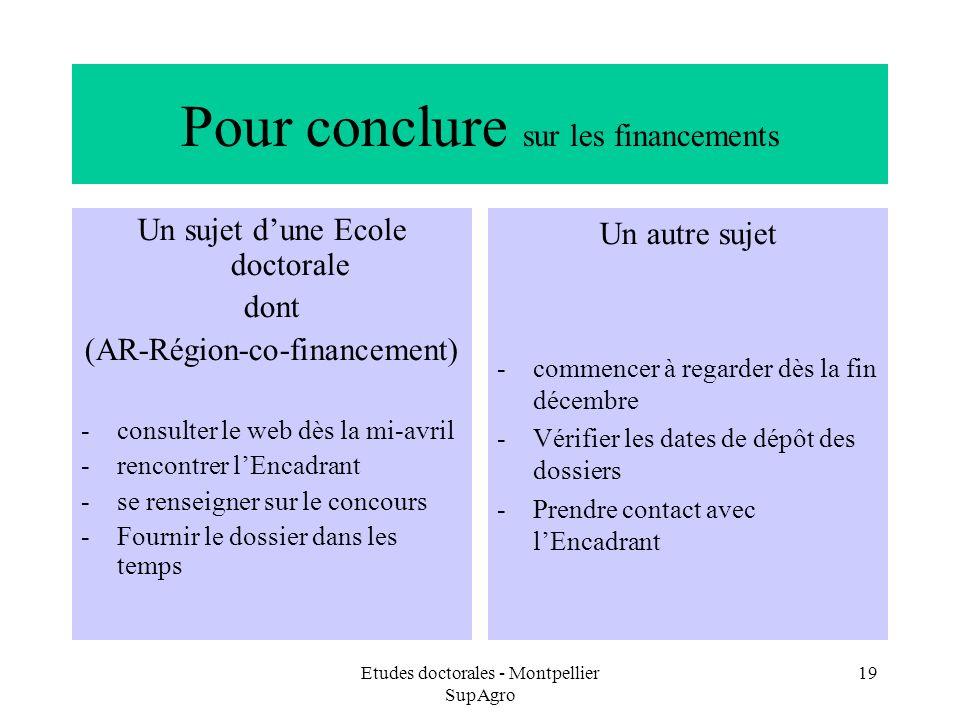 Etudes doctorales - Montpellier SupAgro 19 Pour conclure sur les financements Un sujet dune Ecole doctorale dont (AR-Région-co-financement) -consulter