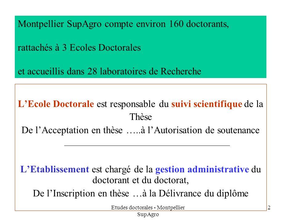 Etudes doctorales - Montpellier SupAgro 2 Montpellier SupAgro compte environ 160 doctorants, rattachés à 3 Ecoles Doctorales et accueillis dans 28 lab
